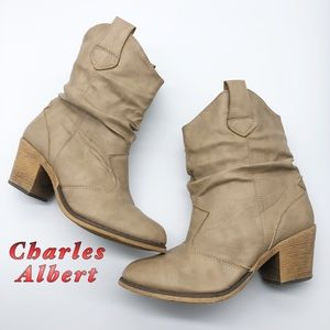 Charles Albert-Light Tan Western Ankle Boots 8